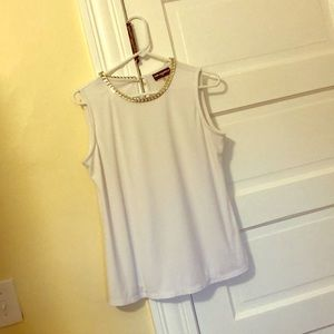 White tank with neckline bling